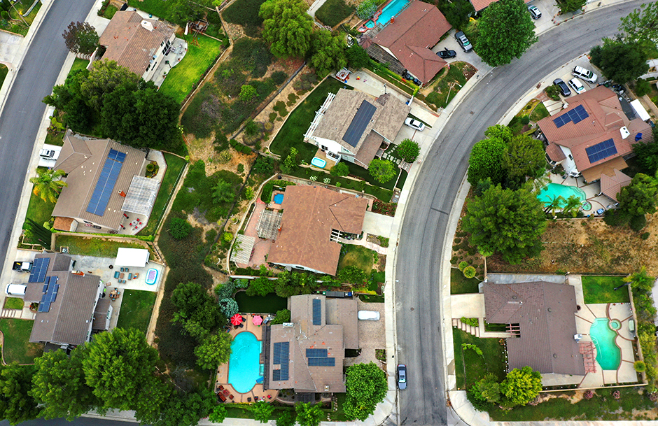 Solar panels are seen on rooftops in Santa Clarita, California.