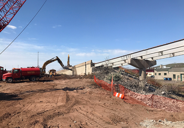 Older bridges being torn down on the Twin Ports Interchange project.