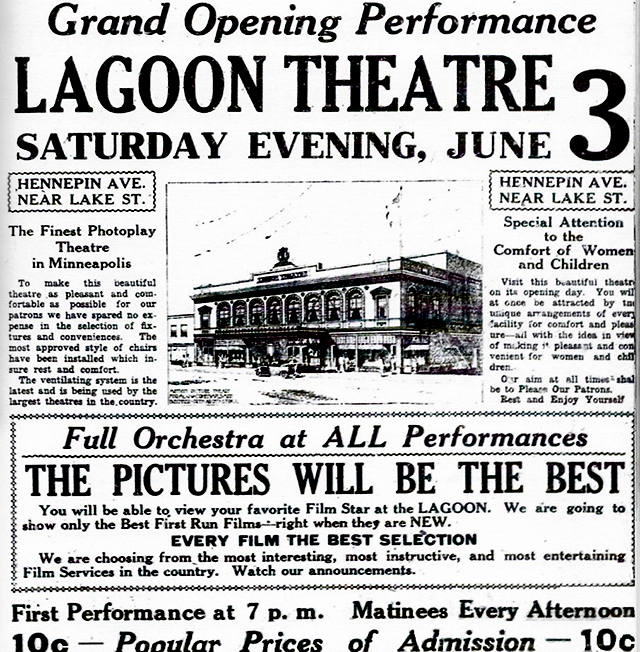 A 1916 ad for the then Lagoon Theatre.