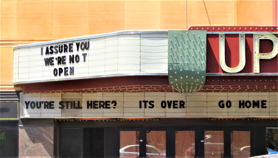 The current marquee on the Uptown Theater in Uptown Minneapolis