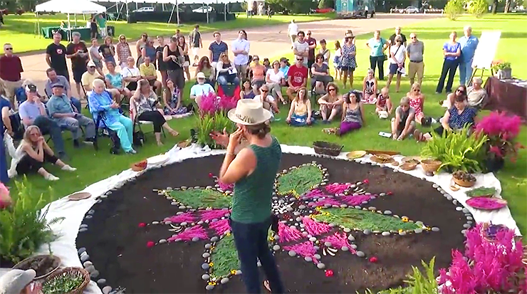 Working on the grass near Lakewood's Memorial Chapel, Schildkret created a large, intricate and colorful mandala from materials foraged from the cemetery's 250 acres: stones, leaves, seeds, flowers, feathers, bark, twigs.