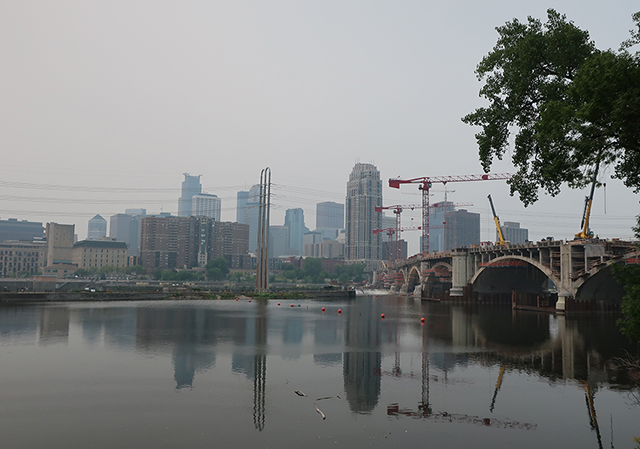 A hazy view of downtown Minneapolis.