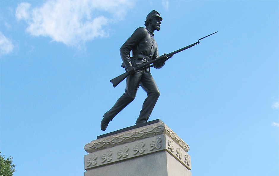 A detail from the monument to the 1st Minnesota Infantry Regiment at Gettysburg Battlefield, Gettysburg, Pennsylvania.