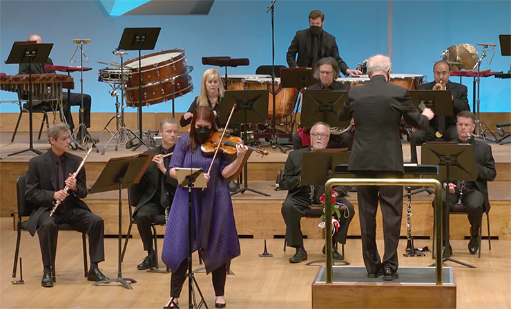 An image from the Minnesota Orchestra's Season Finale concert on Friday, June 25, with Osmo Vänskä leading Erin Keefe and members of the orchestra in Kurt Weill's Concerto for Violin and Wind Orchestra.
