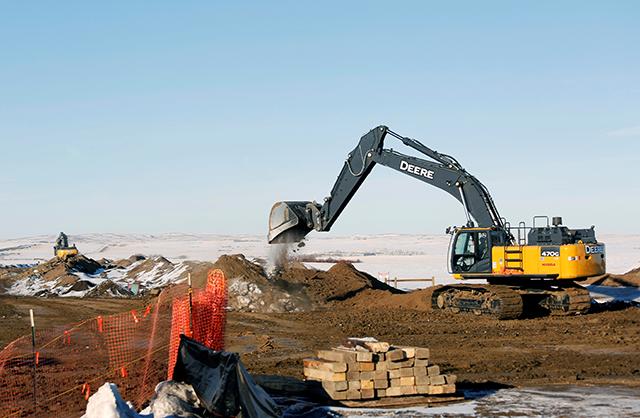 Heavy equipment working on a piece of the Keystone XL crude oil pipeline north of Oyen, Alberta, Canada, on February 1.