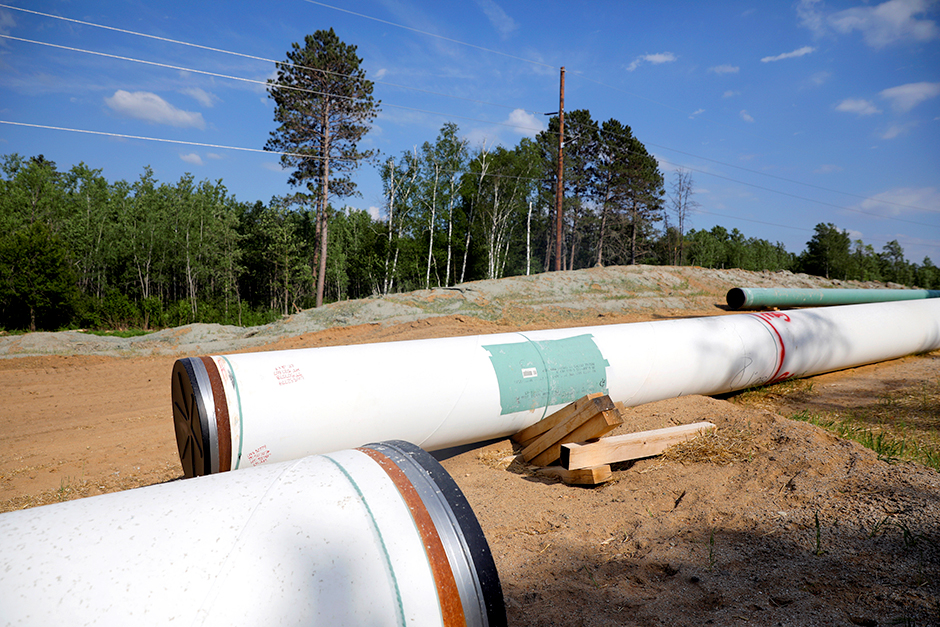 Enbridge Line 3 pipeline materials to be buried near Park Rapids in a photo from June 6.
