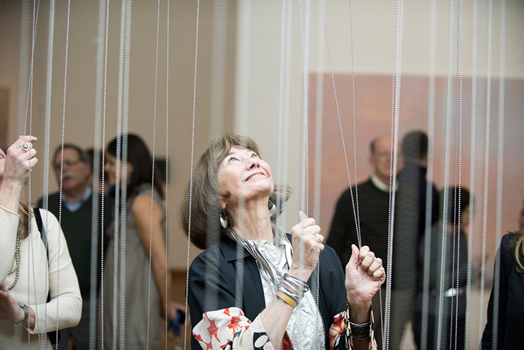 """Lyndel King at the Weisman's """"Clouds, Temporarily Visible"""" exhibition in 2016."""