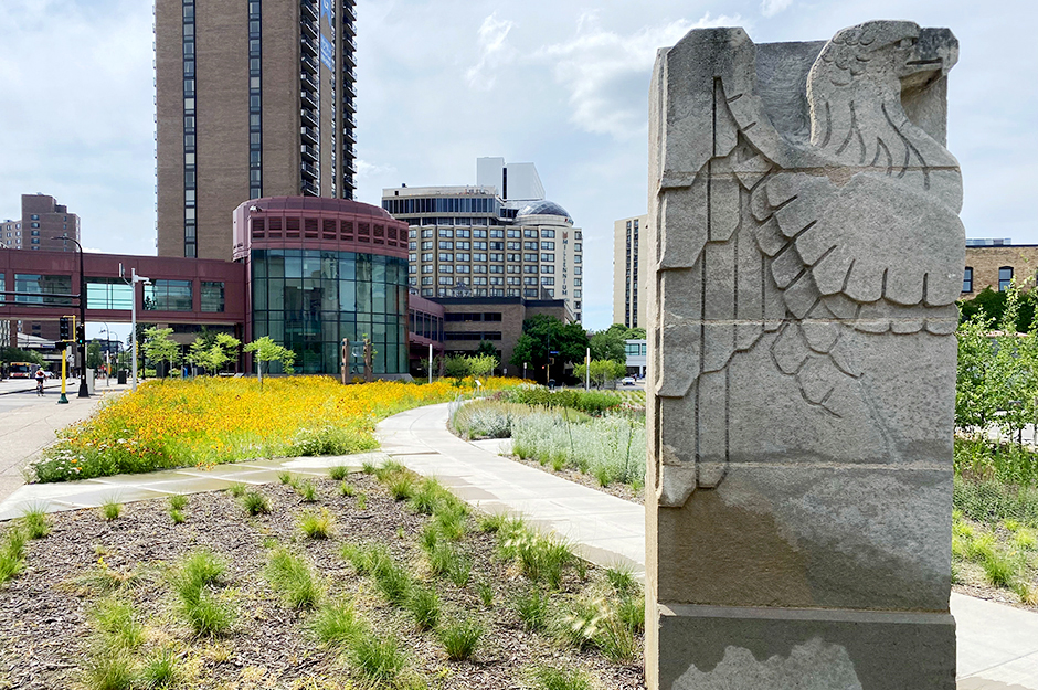 Irrigation for the pollinator meadow comes from rainwater runoff from the convention center roof, stored in a 250,000 gallon tank.