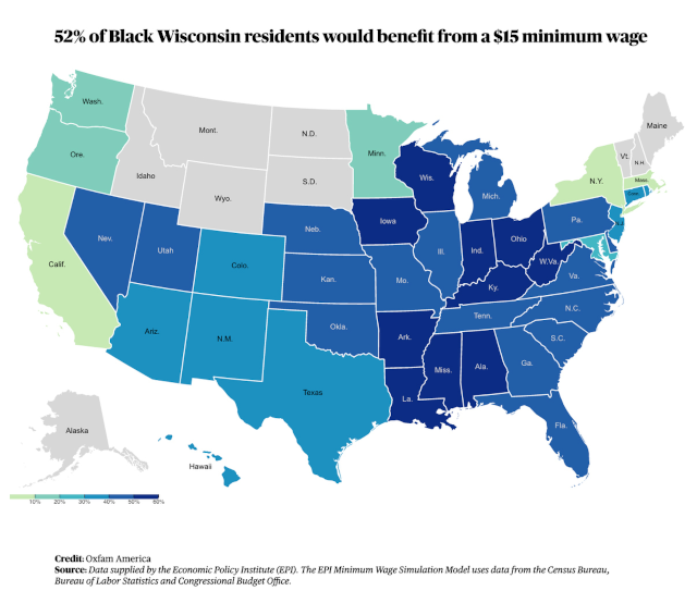graphic showing which portion of states populations would benefit from a minimum wage increase. wisconsin is among the states where the largest proportion of people would benefit