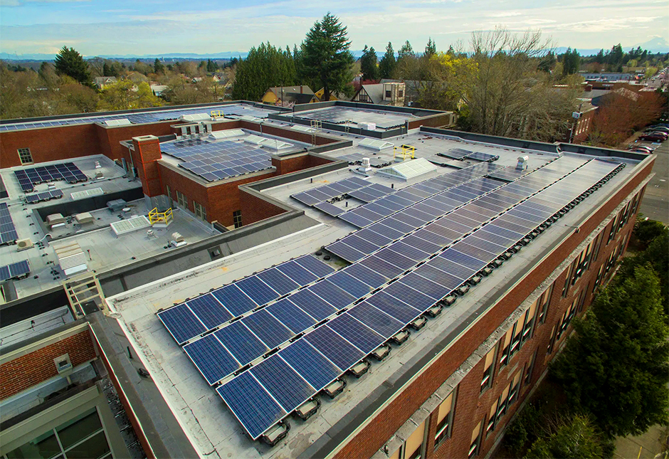 Solar panels on a school rooftop in Oregon. New state funding could help triple such installations on Minnesota K-12 schools and community colleges.