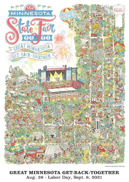 image of state fair commemorative artwork, an illustration depicting various fair activities