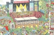 close up of state fair commemorative artwork, an illustration depicting various fair activities
