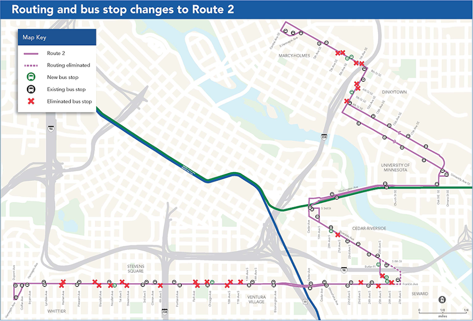 image of a route map showing stops eliminated on route 2