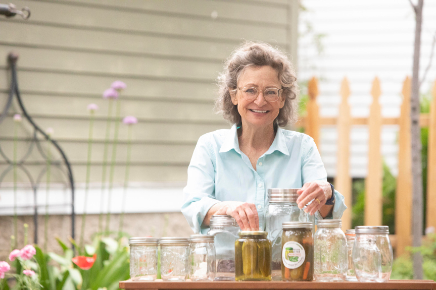 photo of actor sally wingert with pickle jars