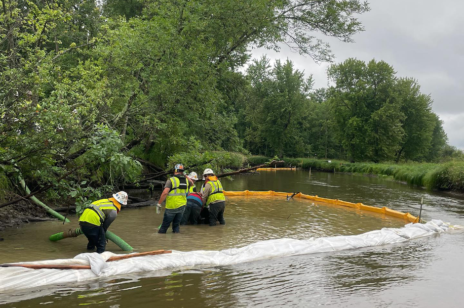 volunteers in river willow working on cleanup