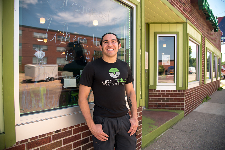 Donald Robert Greengrass Jr. is seen outside his La Crosse, Wis., business Greengrass Cafe, which he opened with money he received from the Ho-Chunk Nation's Child Trust Fund Program when he turned 18.