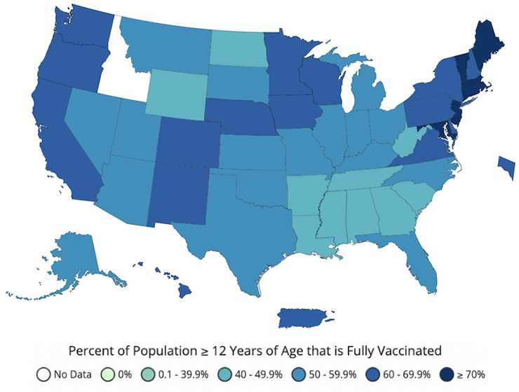 Percent of people fully vaccinated, reported to the CDC by state/territory and for select federal entities, for the population, 12 years old and older
