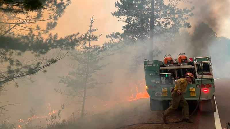 Firefighters battling the Greenwood Fire in Superior National Forest.