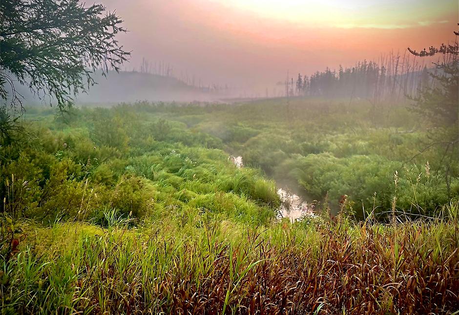 A smoky, foggy sunrise along the Gunflint Trail on August 24.