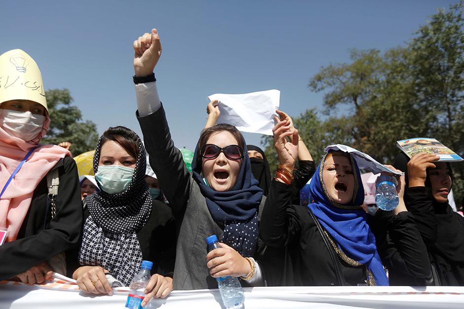 Women demonstrators from Afghanistan's Hazara minority attending a protest in Kabul, Afghanistan, on July 23, 2016.