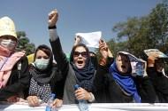 Women demonstrators from Afghanistan's Hazara minority