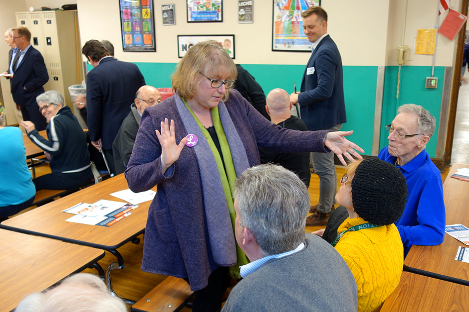 City Council Member Lisa Goodman, shown at a DFL precinct caucus in 2017, has accrued more money than any other City Council candidate in 2021.