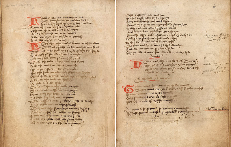 The opening pages of The Lytille Childrenes Lytil Boke, an instructional book of table manners dating from around 1480 and written in Middle English.