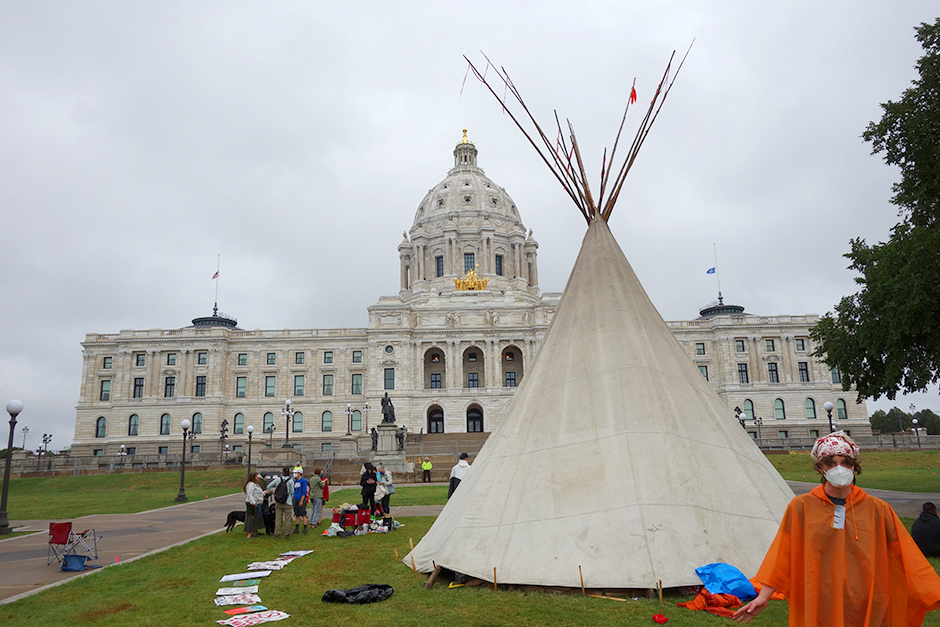 A teepee standing on the mall in front of the Minnesota State Capitol during a protest on Friday.