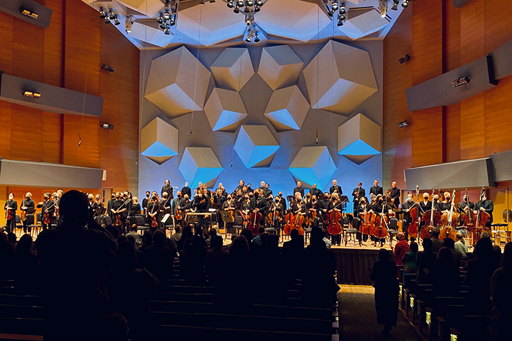 The Minnesota Orchestra takes its bows after Saturday's concert. The orchestra is still playing to 50% capacity audiences.