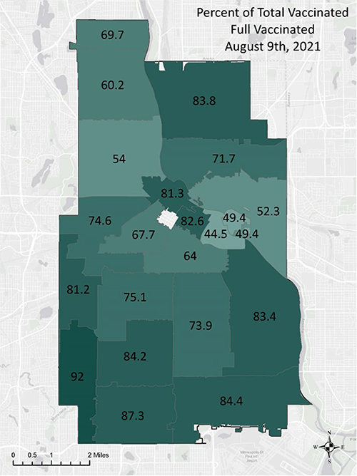 Full vaccination rates by zip code