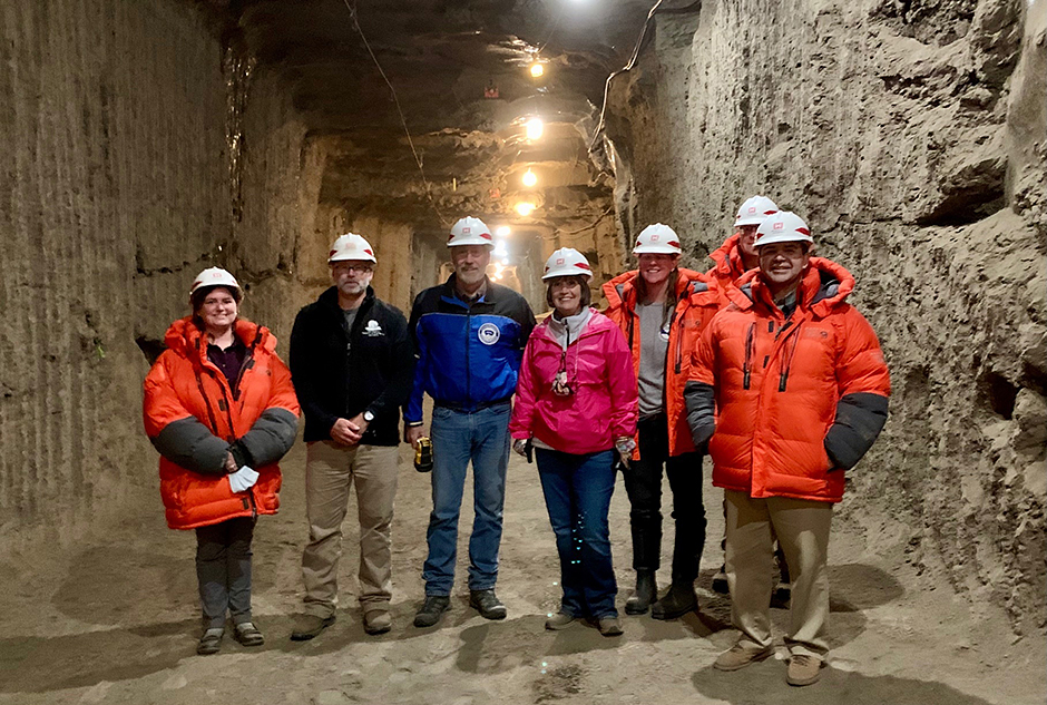 Rep. Betty McCollum, fourth from left, touring a Permafrost Research Tunnel at ERDC's Cold Regions Research and Engineering Laboratory facilities near Fairbanks, Alaska.