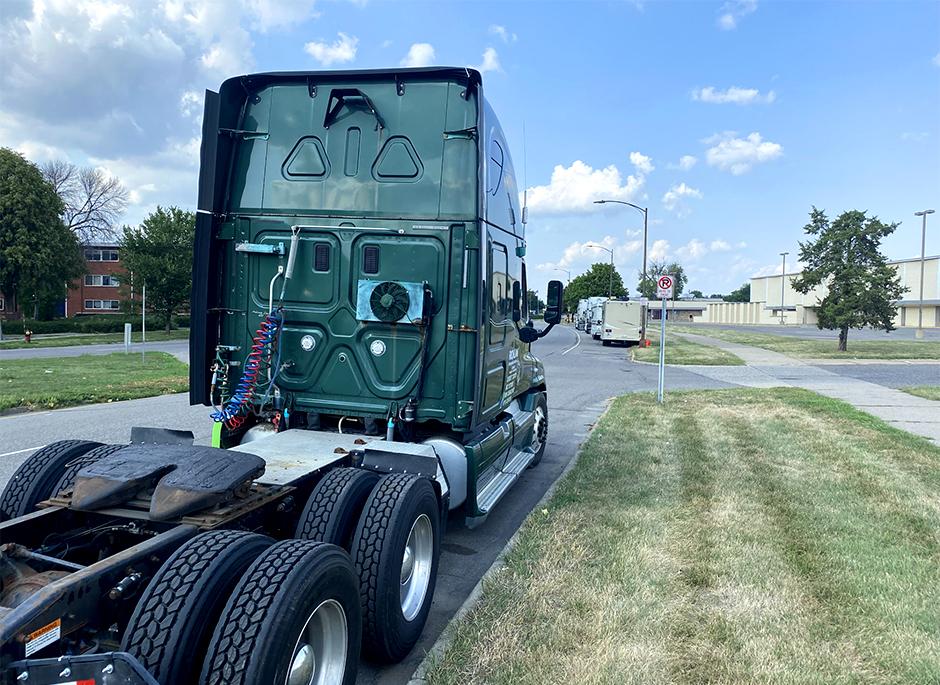 Trucks parked along Marion Boulevard in St. Paul.