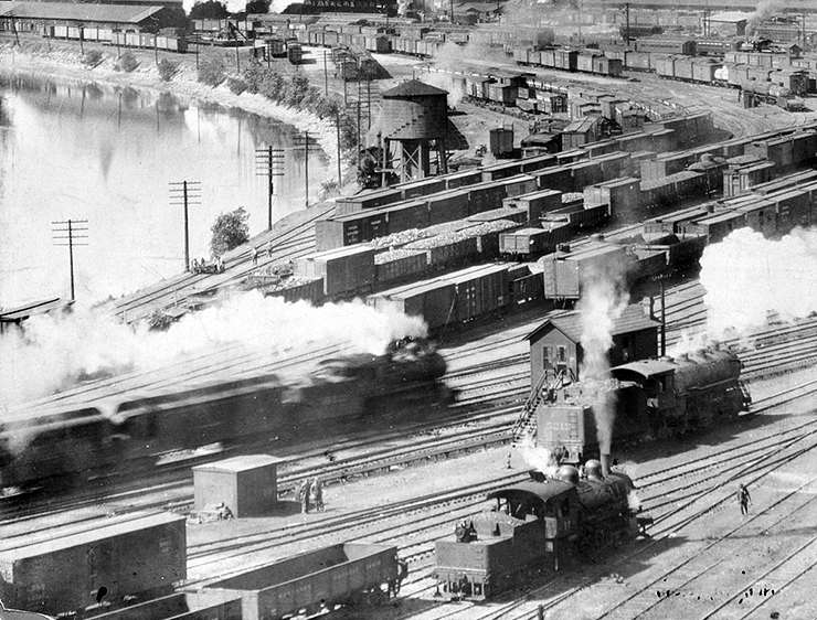 The rail yards near Union Depot, circa 1918.