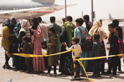 image of people at airport in kabul