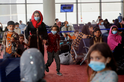 photo of evacuees from Afghanistan in airport