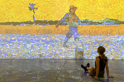 image of museumgoer sitting in gallery looking at large format van gogh reproduction