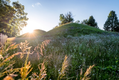 photo of grass covered mounds