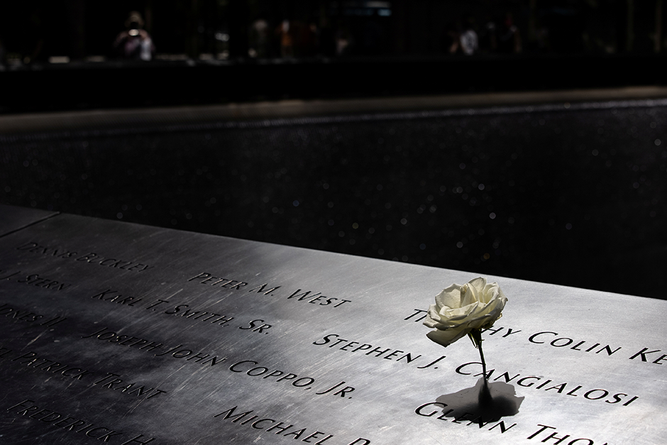 A flower is seen at the reflecting pool of the 9/11 Memorial in New York City.
