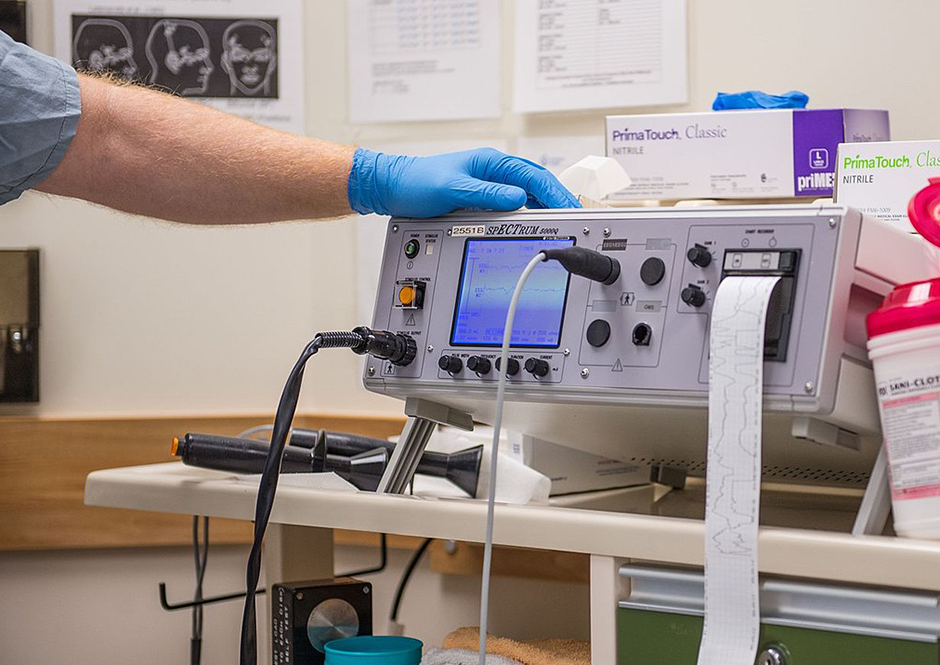 An Electroconvulsive therapy device in a modern therapy suite.