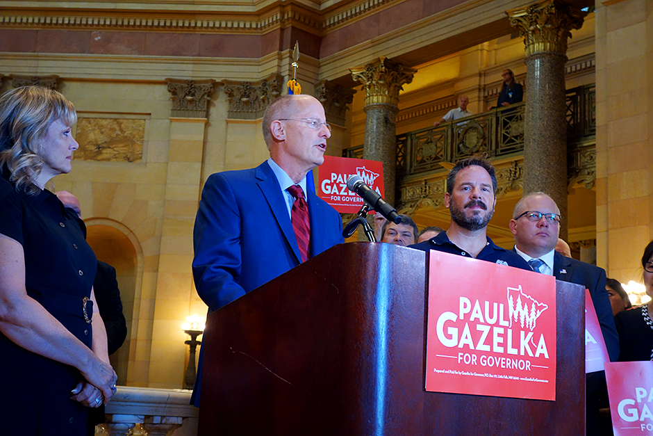 Former Senate Majority Leader Paul Gazelka announcing his run for governor in the Capital Rotunda on Wednesday. Wife Maralee is at left.