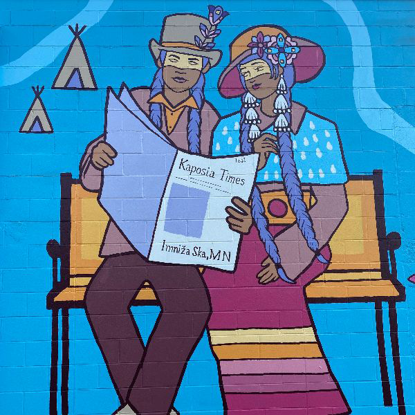 """The """"Kaposia Times"""" mural by Indigenous artist Marlena Myles, located at Gobeil Co., 715 Raymond Ave., St. Paul."""