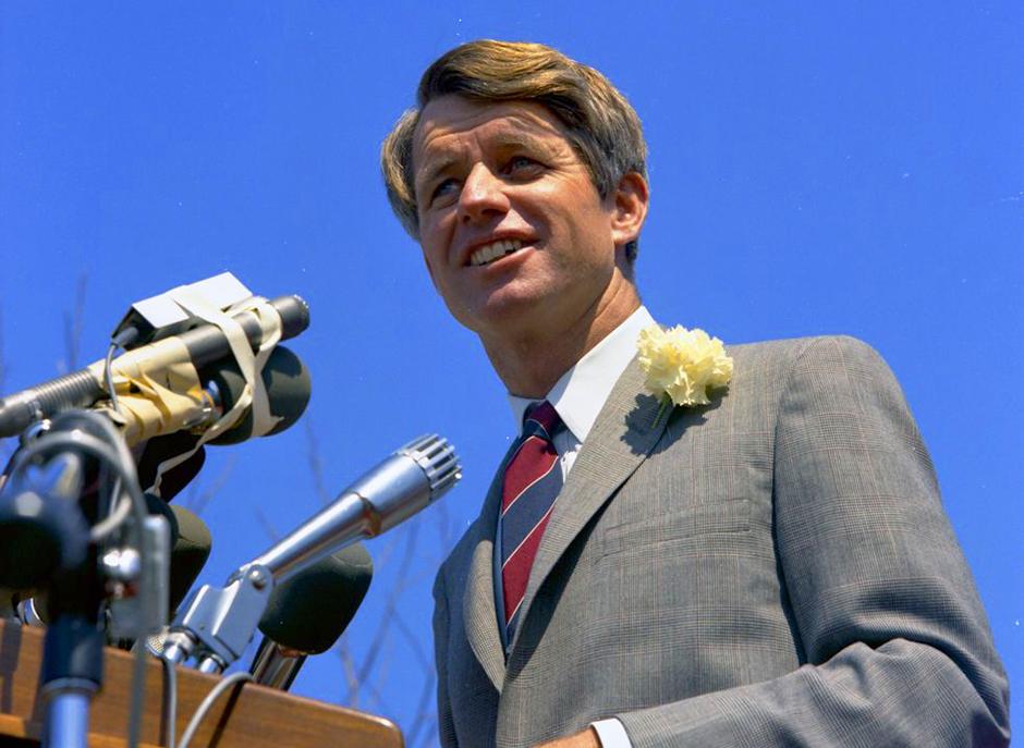 Sen. Robert F. Kennedy addressing a crowd at San Fernando Valley State College on March 25, 1968.