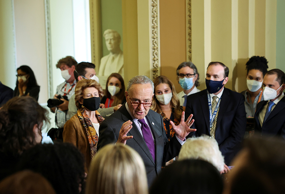 Senate Majority Leader Chuck Schumer speaking to reporters following the weekly Senate Democratic policy lunch on Tuesday.