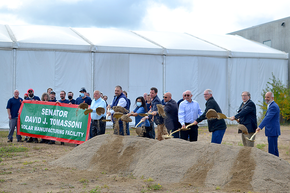 """Heliene's CEO Martin Pochtaruk, far right, at the new facility's groundbreaking ceremony: """"Our product, made in Mountain Iron Minnesota, is the simplest renewable energy engine to such electrification."""""""