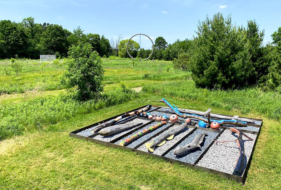 """Tackle Box"" by 2021 Fellow Moko Fukuyama, located at the Franconia Sculpture Park."