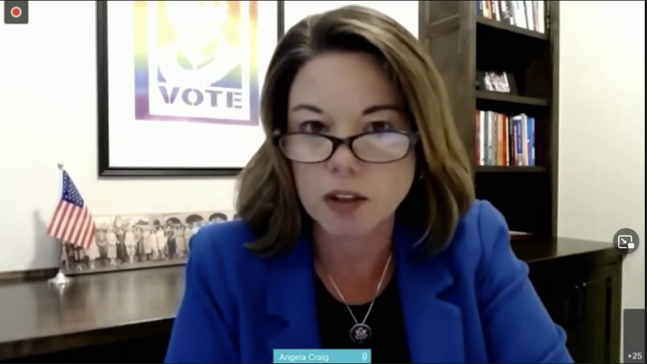screen capture of rep. angie craig speaking on video