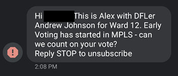 unsolicited political text