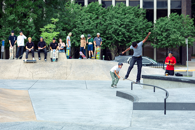 Custom concrete designs were put together for Elliot Park by the Minneapolis Parks and Recreation Board via the California Skateparks design firm.