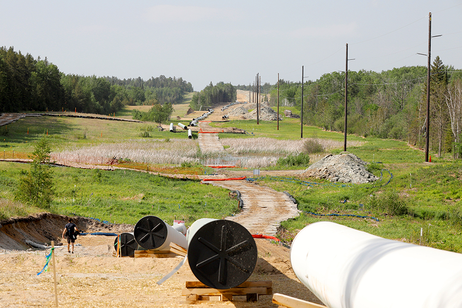 In a June 6 photo, Enbridge Line 3 pipeline materials that have since been buried near Park Rapids.