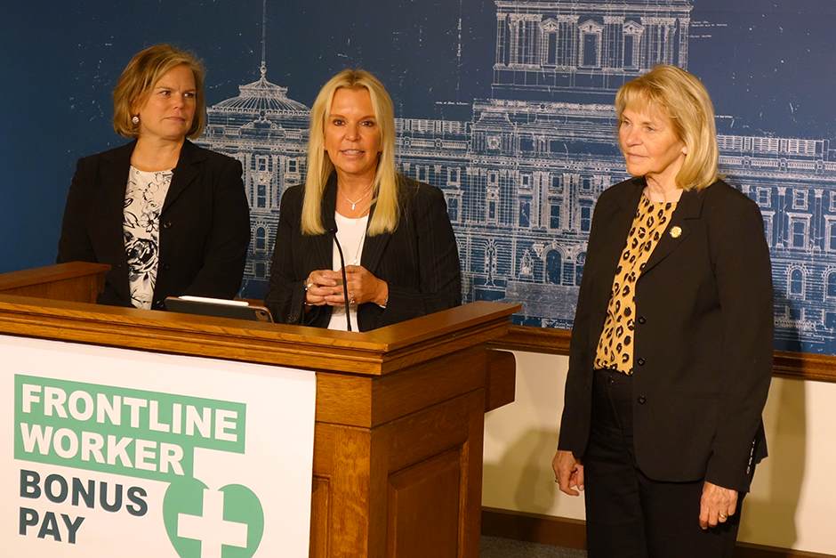 State Rep. Anne Neu Brindley, Sen. Karin Housley and Sen. Mary Kiffmeyer speaking at Thursday's press conference.